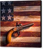 Old Gun On Folk Art Flag Canvas Print