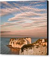 Old Harry Rocks Jurassic Coast Unesco Dorset England At Sunset Canvas Print by Matthew Gibson