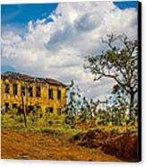 Old House And Cows Canvas Print by Fabio Giannini