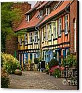 Old Houses At Johannes Kloster Stralsund Canvas Print by David Davies