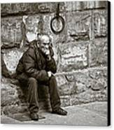 Old Man Pondering Canvas Print