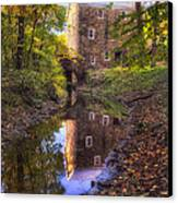 Old Mill Reflected In A Creek Canvas Print
