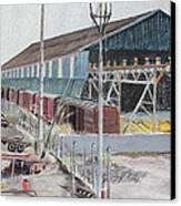 Old Resting Train And Schnitzer Steel Building Canvas Print by Asha Carolyn Young
