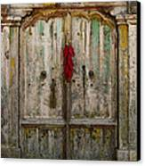 Old Ristra Door Canvas Print by Kurt Van Wagner