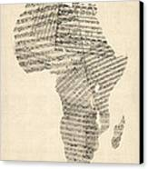 Old Sheet Music Map Of Africa Map Canvas Print by Michael Tompsett