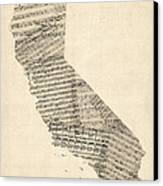 Old Sheet Music Map Of California Canvas Print