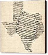 Old Sheet Music Map Of Texas Canvas Print by Michael Tompsett