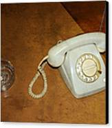Old Telephone And Ashtray On Brown Table Canvas Print by Matthias Hauser