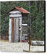 Old Time Outhouse And Pitcher Pump Canvas Print