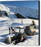 Old Tractor In Winter With Lots Of Snow Waiting For Spring Canvas Print