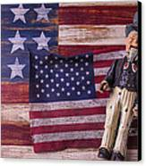 Old Uncle Sam And Flag Canvas Print by Garry Gay