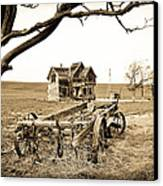 Old Wagon And Homestead Canvas Print