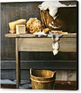 Old Wash Tub With Soap And Scrub Brushes Canvas Print