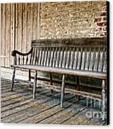 Old Wood Bench Canvas Print by Olivier Le Queinec
