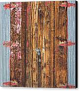 Old Wood Door With Six Red Hinges Canvas Print by James BO  Insogna