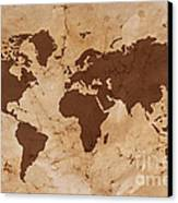 Old World Map On Creased And Stained Parchment Paper Canvas Print by Richard Thomas