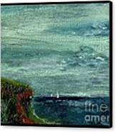 On A Bluff Over The Sea Looking At Sailboats Canvas Print by Cathy Peterson