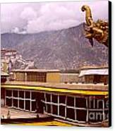 On Jokhang Monastery Rooftop Canvas Print by Anna Lisa Yoder