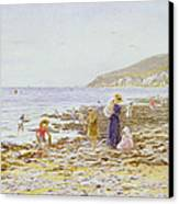 On The Beach Canvas Print by Helen Allingham