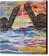 On The Hour. The Sailboat And The Steel Bridge Canvas Print