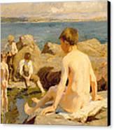 On The Rocks Near Newlyn Canvas Print by Harold Harvey