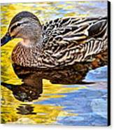 One Leaf Two Ducks Canvas Print by Frozen in Time Fine Art Photography