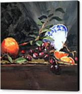 Orange And Grapes Canvas Print by Ellen Howell