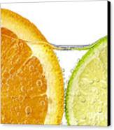 Orange And Lime Slices In Water Canvas Print