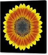 Orange And Yellow Sunflower Flower Mandala Canvas Print
