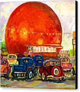 Orange Julep With Antique Cars Canvas Print by Carole Spandau