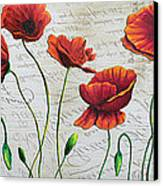 Orange Poppies Original Abstract Flower Painting By Megan Duncanson Canvas Print