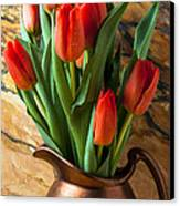 Orange Tulips In Copper Pitcher Canvas Print by Garry Gay