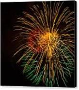 Orange Yellow Green Fireworks Galveston Canvas Print