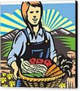 Organic Farmer Farm Produce Harvest Retro Canvas Print by Aloysius Patrimonio