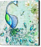 Original Peacock Painting Bird Art By Megan Duncanson Canvas Print