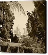 Original Vintage Urban Landscape Deco Reproduction Downtown Los Angeles Trees Retro Unique Fine Art Canvas Print