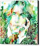 Oscar Wilde Watercolor Portrait.2 Canvas Print by Fabrizio Cassetta