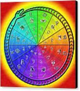 Ouroboros Alchemical Zodiac Canvas Print by Derek Gedney