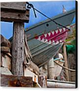 Out Of The Water - There's A Shark Canvas Print by Bill Gallagher