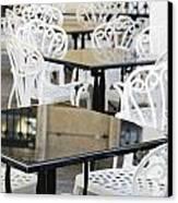 Outdoor Cafe Tables Canvas Print by Oscar Gutierrez
