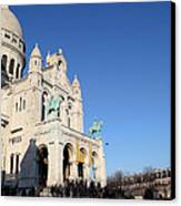 Outside The Basilica Of The Sacred Heart Of Paris - Sacre Coeur - Paris France - 01136 Canvas Print by DC Photographer