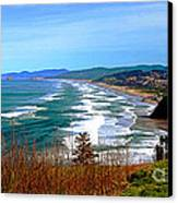 Overlooking Proposal Rock Cape Lookout Haystack Rock And Cape Kiwanda Canvas Print by Margaret Hood