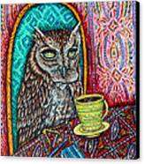 Owl At The Cafe Canvas Print by Jay  Schmetz