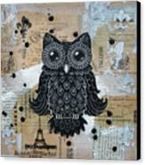 Owl On Burlap1 Canvas Print by Kyle Wood