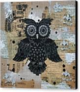 Owl On Burlap2 Canvas Print