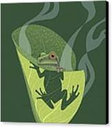 Pacific Tree Frog In Skunk Cabbage Canvas Print