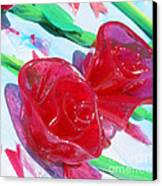 Painterly Stained Glass Looking Flowers Canvas Print by Ruth Collis