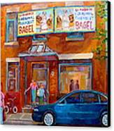 Paintings Of Montreal Fairmount Bagel Shop Canvas Print by Carole Spandau