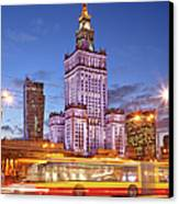 Palace Of Culture And Science In Warsaw At Dusk Canvas Print by Artur Bogacki