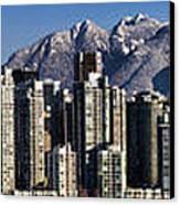 Pano Vancouver Snowy Skyline Canvas Print by David Smith